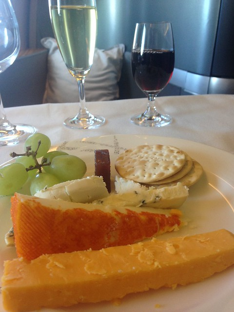 Cathay Pacific first class, cheese plate, port and champagne