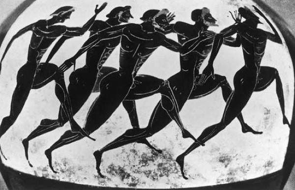 Greek illustration depicting runners at the Olympic Games