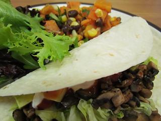 Spicy Smoked Portobello Tacos; Black Bean and Sweet Potato Salad