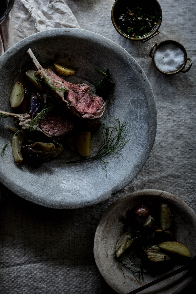coriander, fennel, mint rack of lamb