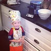 Cohen had to get dressed up to help make waffles this morning.