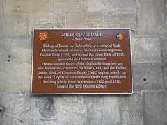 Photo of York Minster Library and Miles Coverdale bronze plaque