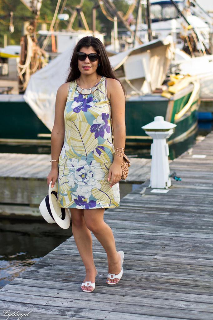 Tropical print dress, straw clutch, white sandals-1.jpg