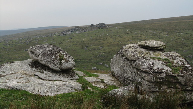 Calveslake Tor. View to Lower Hartor Tor.