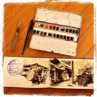 #japon #urbansketch #carbon #platinum #watercolor