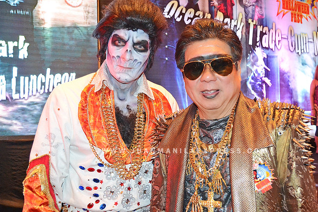 OCEAN PARK HONG KONG BIGWIGS. Tom Mehrmann, CEO, and Paul Pei, Executive Director, Hotel and Hospitaity in their Halloween get-ups.