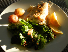BBQ Halibut, Potatoes & Spinach Salad in Victo…