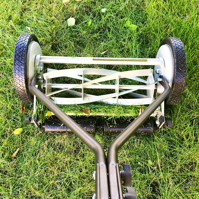 How many girls do you know who are thrilled to get a rotary reel lawn mower for a birthday present? My 16 year old (and current day) self are so HAPPY!
