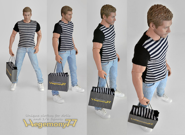 Sixth scale figure clothes - T shirt and light blue jeans pants on Hot Toys TTM 19