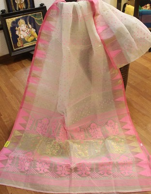White And Pink Dhakai Jamdhani Muslin Silk Sarees on Shimply.com