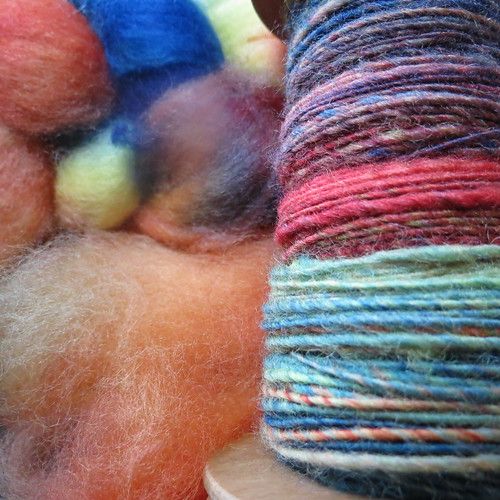BFL hand dyed/hand spun tops