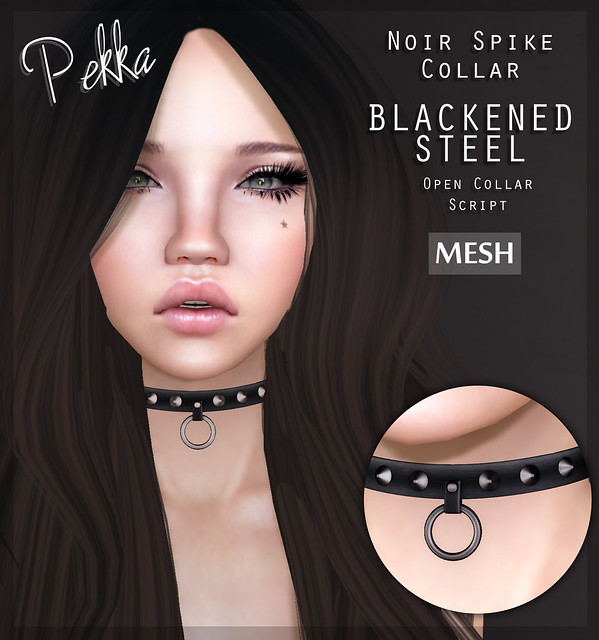 pekka noir spike collar blackened steel