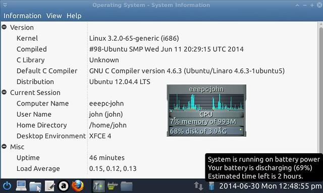 Installed xubuntu / Xfce desktop on EEEPC 701