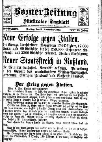 Bozner Zeitung 9 November 1917 (Collection Friedrich Tessmann Library)