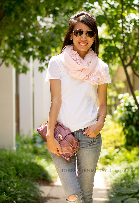 light pink scarf, white tee, metallic rose clutch, distressed jeans