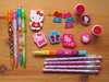 Hello Kitty pens, erasers & stampers