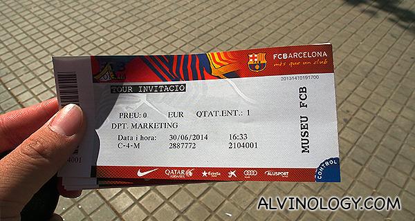 My admission ticket