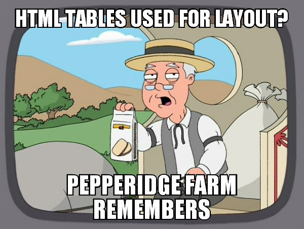 HTML Tables Used for Layout? Pepperidge Farm Remembers