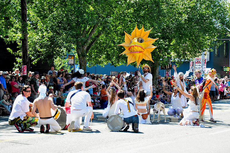Sun worshipers in the Solstice Parade in Fremont, Seattle, Washington