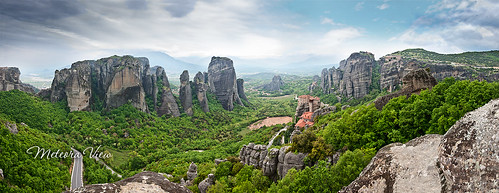 travel panorama nature rock clouds greece monastery meteora