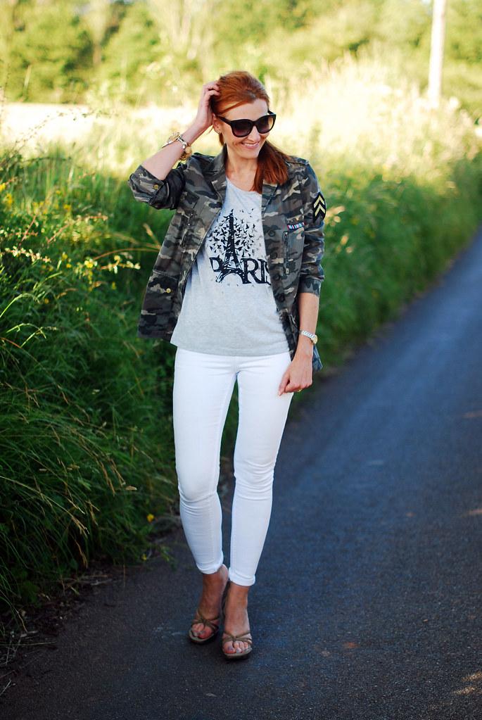 Camo jacket and white skinnies