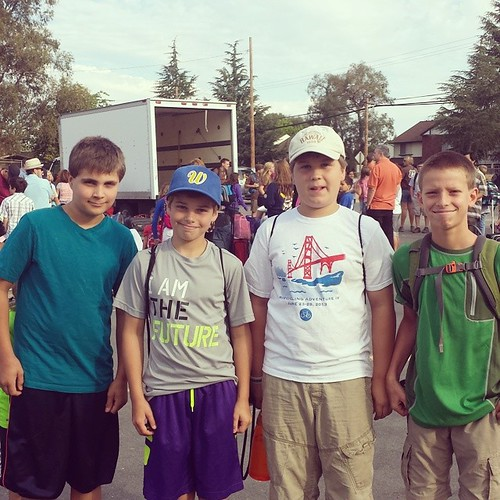Lucas and some of his friends left for Camp Winthers this morning. First time at sleepaway camp! #summer #12yearold #friends #waldorf #camp