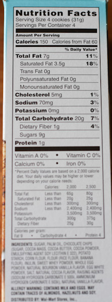 Great Value Chocolate Chip Cookie Nutrition