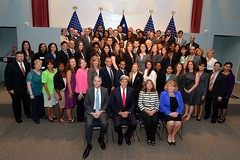 U.S. Secretary of State John Kerry poses for a photo with the newest Civil Service Orientation Class after swearing them in at the Foreign Service Institute in Arlington, Virginia, on July 18, 2014. [State Department photo/ Public Domain]