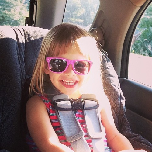 It was her sister's eye doctor appointment, but she got a new pair of sunglasses anyway.