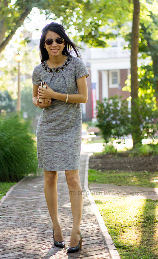 jeweled tweed dress, lace clutch, wooden heeled pumps