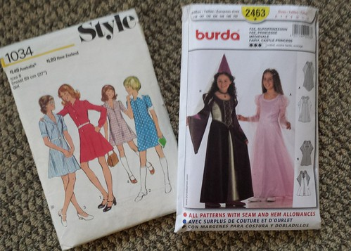 Eowyn costume - vintage Style 1034 heavily modified for undershirt and Burda 2463 for dress