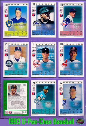 1993 O-Pee-Chee Premier Baseball Cards