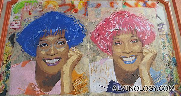 Street graffiti featuring the late Whitney Houston