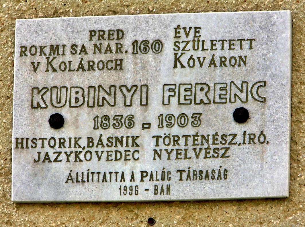 Pamätná tabuľa F. Kubínymu