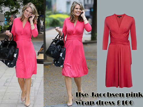 IIse Jacobsen pink wrap dress: chic pregnancy style