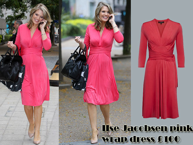 IIse-Jacobsen-pink-wrap-dress-chic-pregnancy-style,wrap styles,  wrap styles dress, wrap dress, Ilse Jacobsen, how to dress a growing bump, wrap dresses, how to style a wrap dress, how to wear a wrap dress