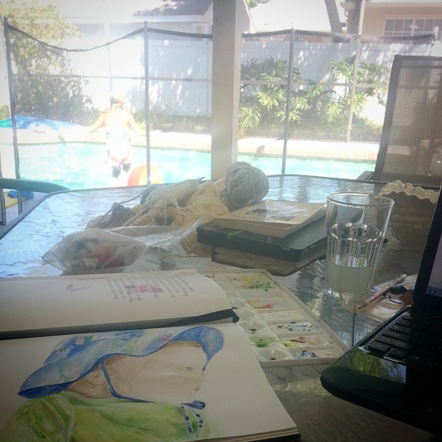 The only thing this perfect set-up (sunshine, fan, #knitting, #painting, pool, Pandora and kids) is missing is mom's group and all our kids. How fun would that be?