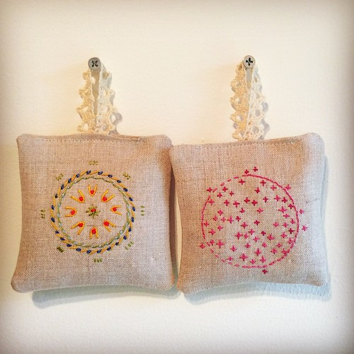 Couple more ... Does my studio smell nice! #embroidery #lavender  #sachets