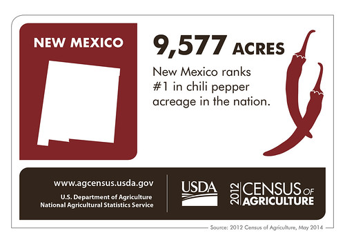 Just in time for football season and fall – New Mexico leads the nation in chili pepper acreage.  Check back next Thursday for more fun facts about another state from the 2012 Census of Agriculture.