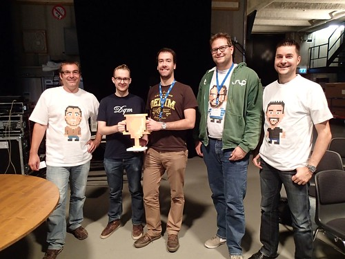 the winners of #srghack - gold for team transcriptor