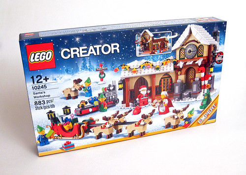 with North Pole Stand LEGO Holiday Minifigure Santa Claus 10245