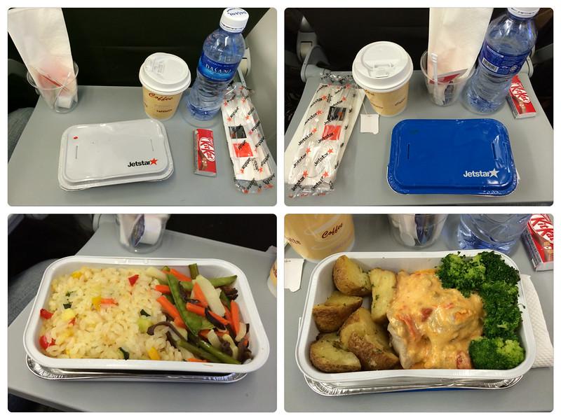 【捷星晚餐】左側是素食餐點,右側是雞肉馬鈴薯,餐點並沒有什麼特別的,好吃的點在於:一堆人看著你吃! XD