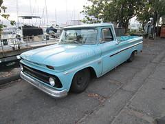 chevrolet task force(0.0), compact car(0.0), antique car(0.0), sedan(0.0), automobile(1.0), automotive exterior(1.0), pickup truck(1.0), vehicle(1.0), truck(1.0), chevrolet c/k(1.0), land vehicle(1.0),