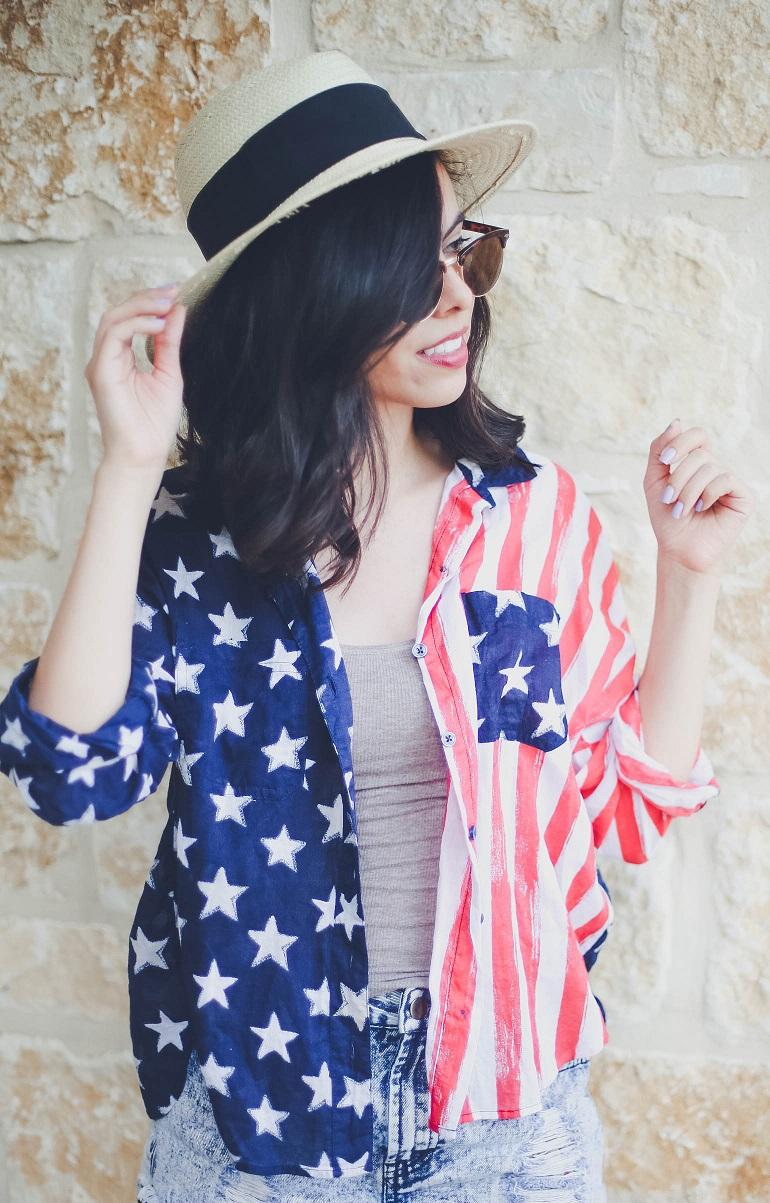 american flag shirt, american flag print shirt, american shirt, urban outfitters american shirt, austin style blog, austin fashion blog, austin texas style blogger, austin texas fashion blogger, texas fashion blogger, american apparel, H&M straw hat, straw hat