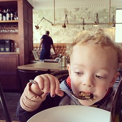 hipster baby enjoys his organic quinoa, flaxseed, and steel cut oat porridge #whateven