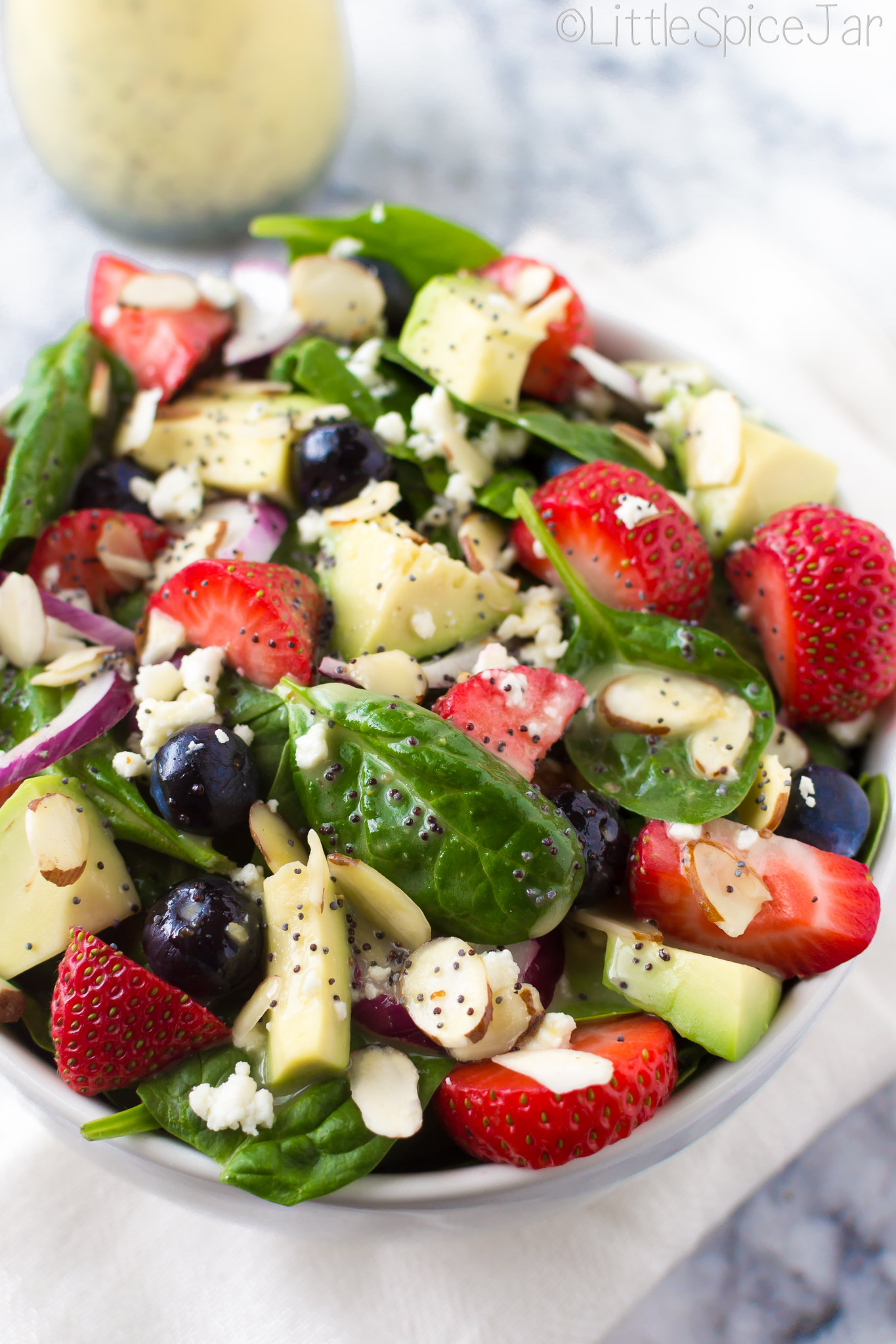 BERRY SPINACH SALAD + CITRUS POPPY SEED DRESSING