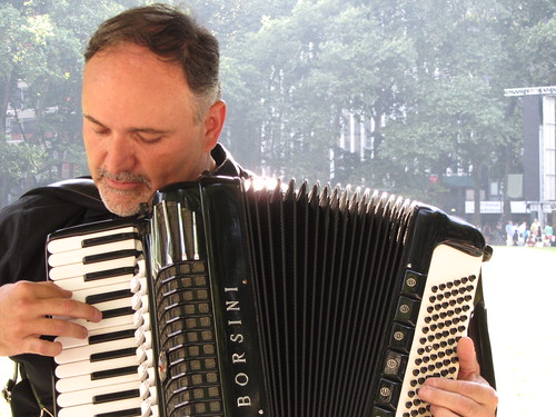 accordionist concentrates on new song