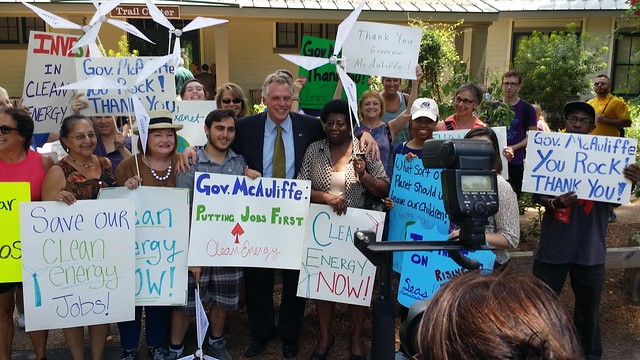 Environmental groups showed their support for the Governor at teh Trail Center.