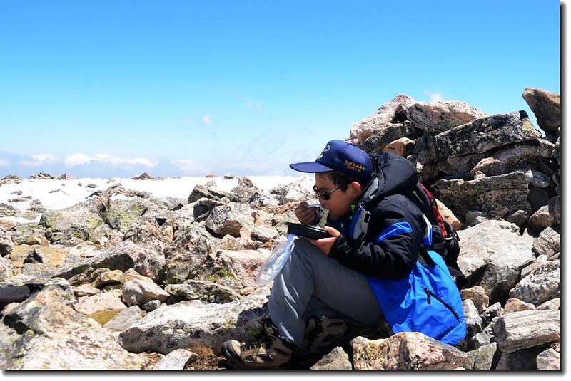 Jacob on James Peak's summit 1