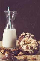 Sweet cookies and milk